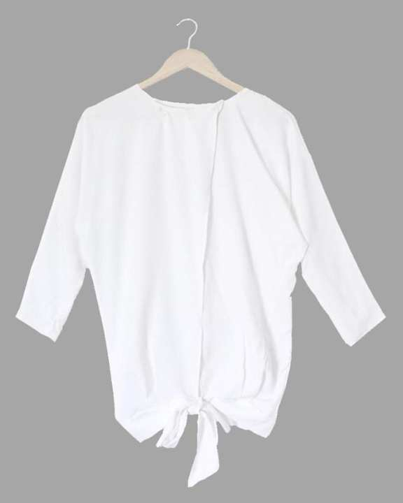 Malai Crepe Stitched White Western Top