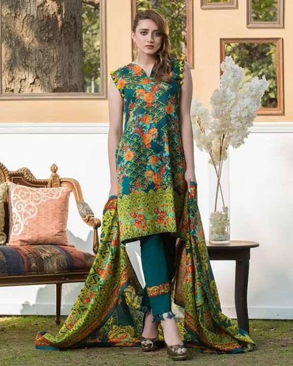 Zink Printed 3Pcs- Unstitched  Lawn For Women