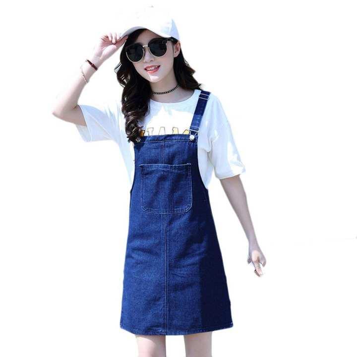Sleeveless Shift Loose Strap Denim Casual Dresses Suspender Skirt Vest Dress