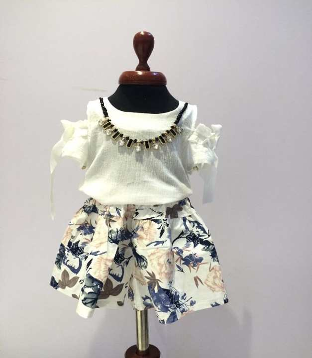 Multi-Color and White Cotton Skirt For Girls