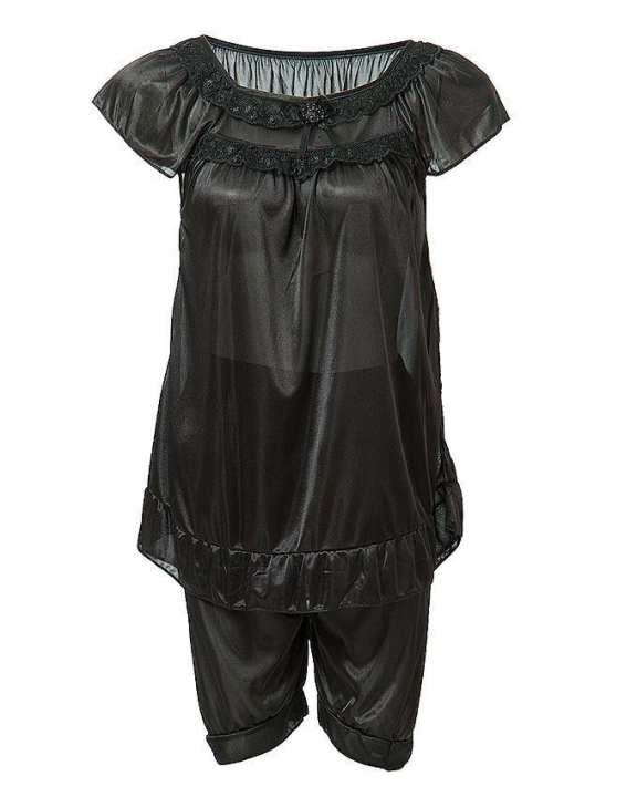Pitch Black Nylon Short Suit For Women