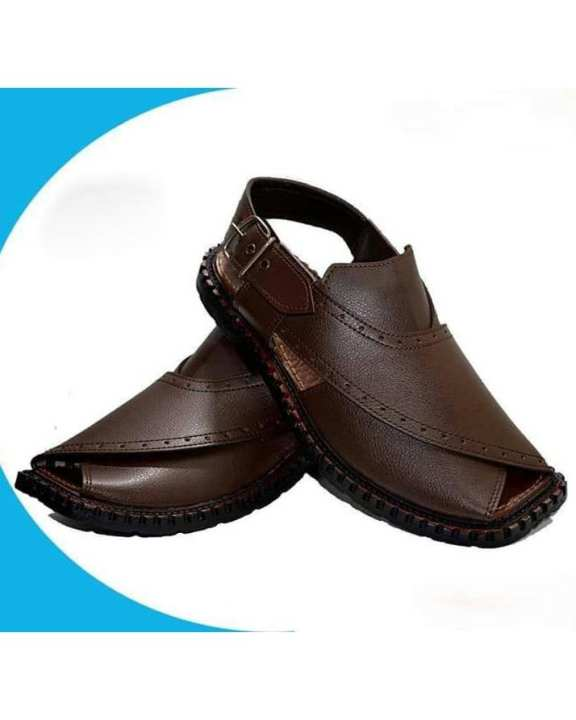 Mustard Peshawari Sandals - For Men - Dark Brown
