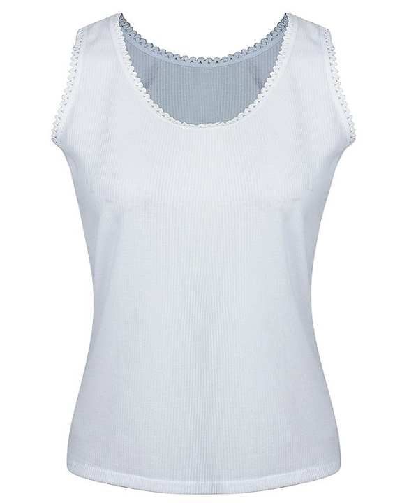 White Ribbed Cotton Camisole for Women
