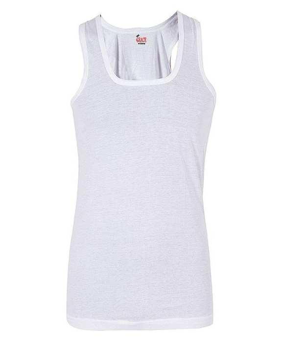 Pack of 3 - White Knitted Cotton Plain Vest for Men