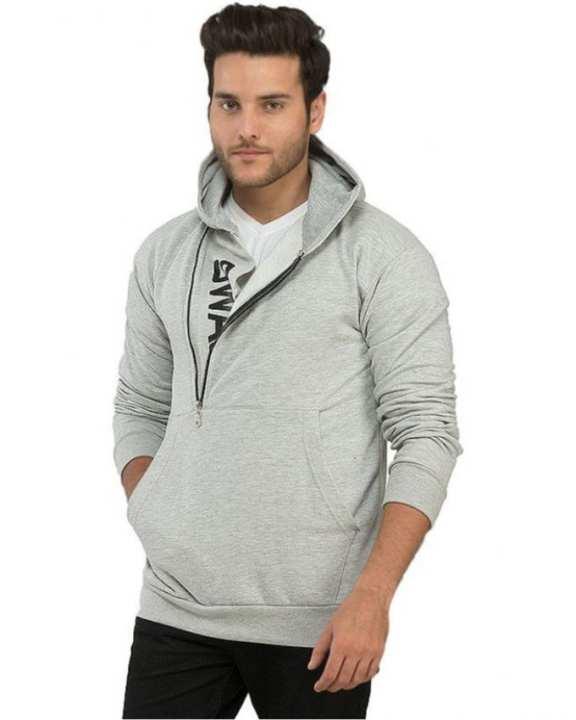 Grey Cotton Fleece Swag Printed Hoodie for Men