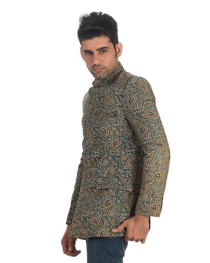 Green Cotton Ajrak Coat For Men