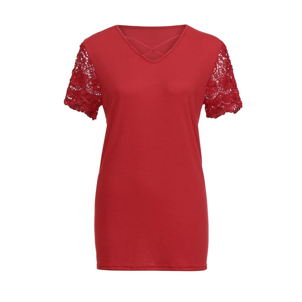 f810b975887 Women s Sexy Criss Cross Lace Short Sleeve Blouse Casual Loose T-shirt Plus  Size  Buy Sell Online   Best Prices in Pakistan