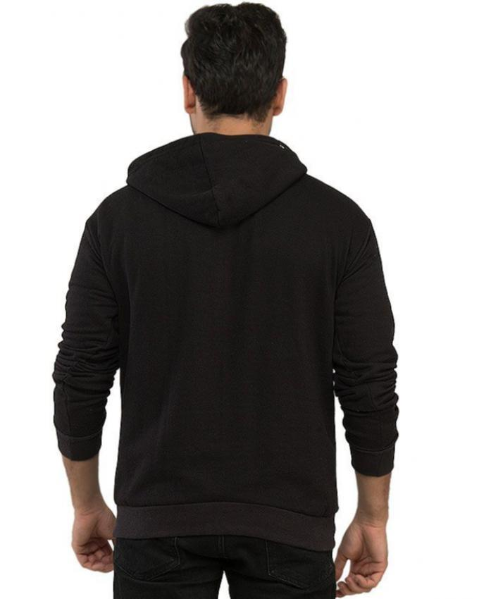 Black Cotton Fleece Swag Printed Hoodie for Men