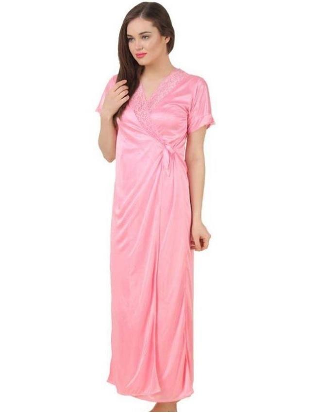 2 Piece Silk Satin Nighty For Women - Baby Pink c108997a2