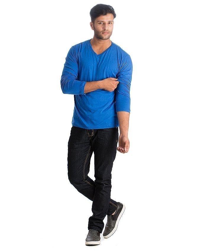 Blue Cotton V-Neck Full Sleeves Tshirt For Men