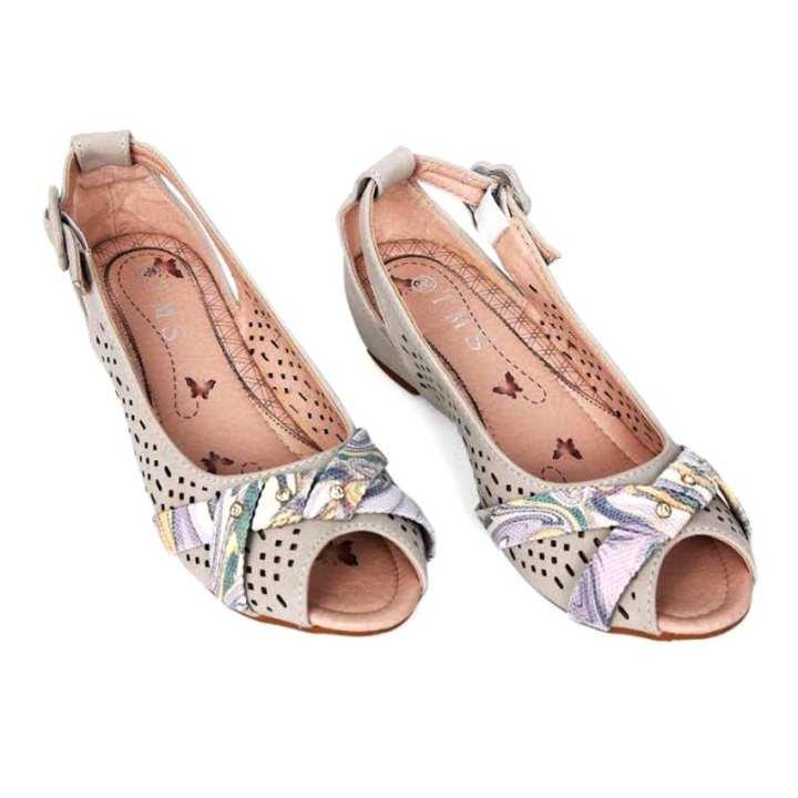 Grey Peep Toe Shoes for Women
