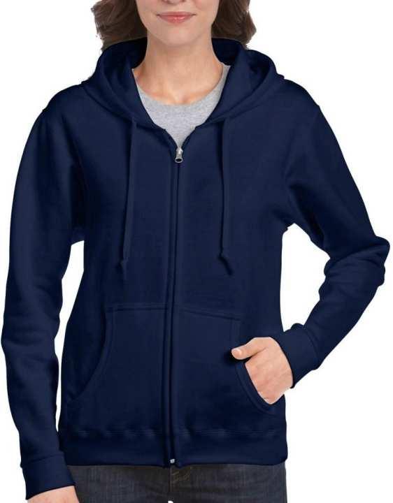 Navy Blue Fleece Zipper Hoodie For Her