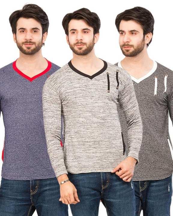 Pack Of 3 V-Neck Strip T-Shirts For Men