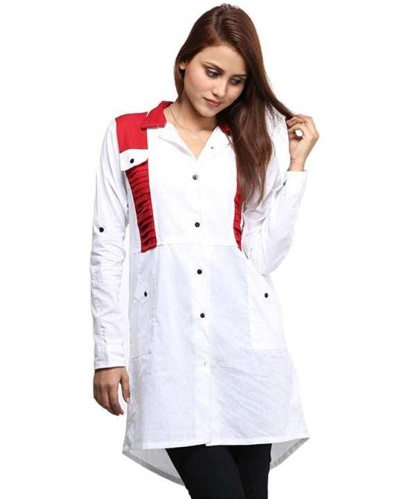White Plain With Red Front Pockets & Shirt Collar Top For Women