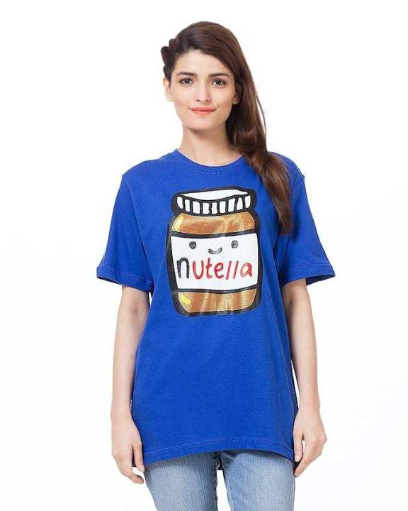Blue Cotton Printed Nutella T-Shirt For Women - ARA-WCTS-NutellaRo