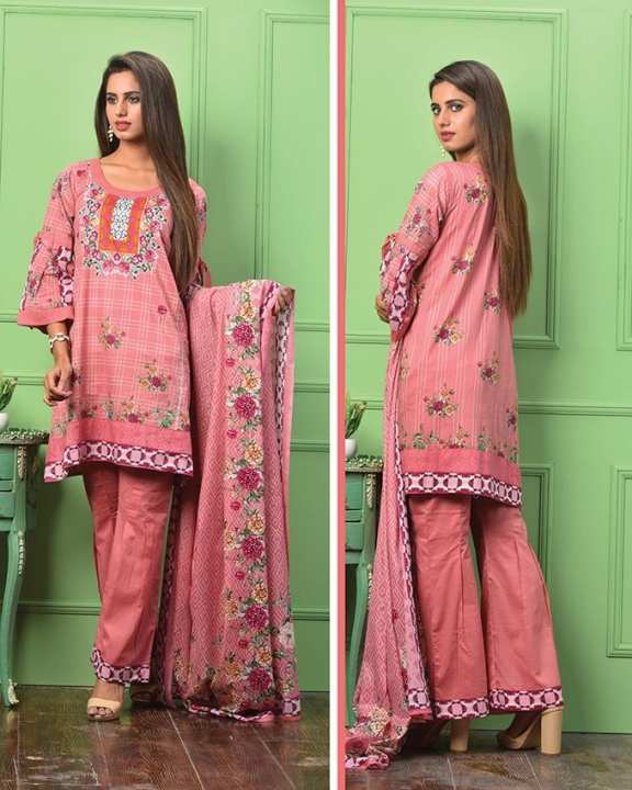 Pink Printed 3Pcs- Unstitched  Lawn For Women