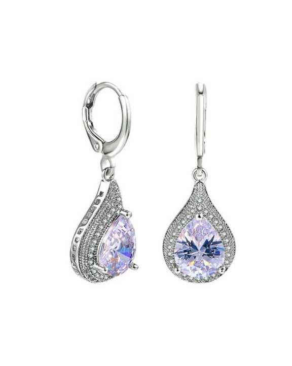 Luxury Blue / Clear Tear-drop Crystal Drop Earrings ZYE858
