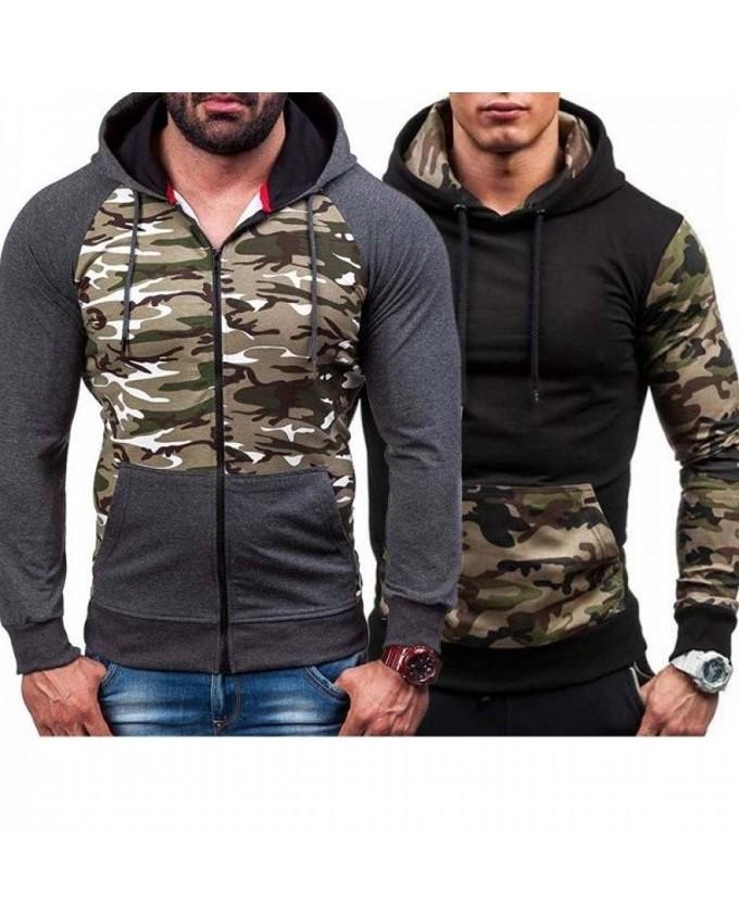 Pack of 2 - Grey & Black Fleece Hoodies for Men