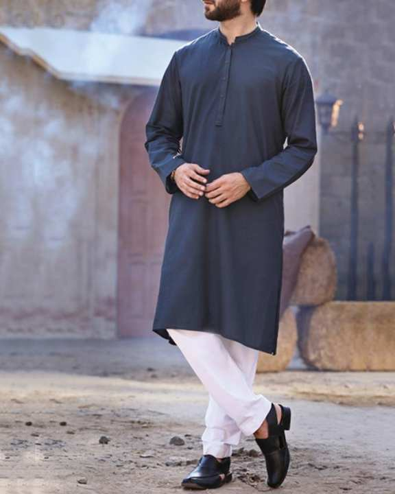 Blue Stitched Kurta for Men Winter Collection Vol.04