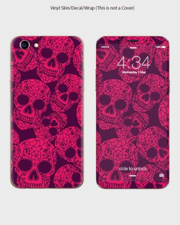 Oppo A83 Phone Skin Front Back And Sides Pink Skulls Style-1Wall1090