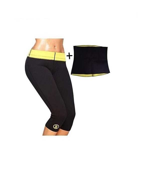 Hot Shapers Pack Of 2 - Slimming Pant & Hot Belt - Black & Yellow