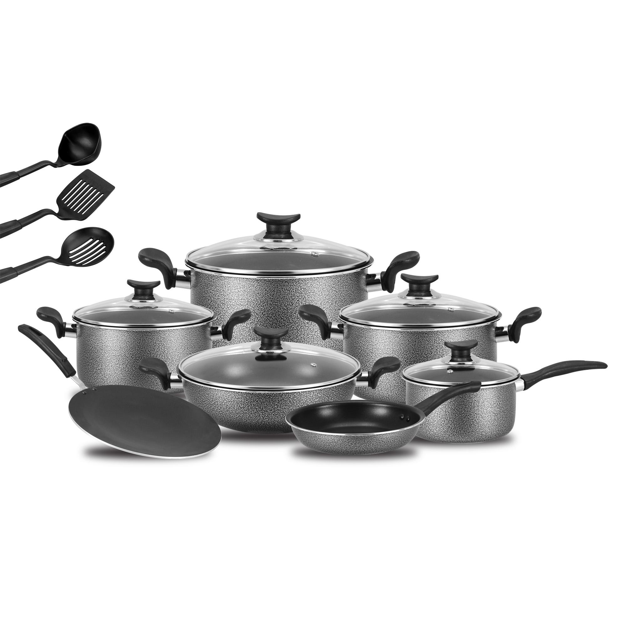 Non Stick Cookware Set - 15 Pcs - Grey & Black