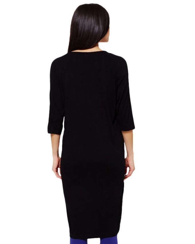 Black Viscose Maternity & Nursing Dress For Women