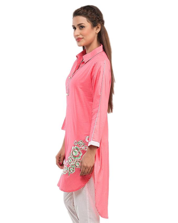 Dark Peach Kurta with Front Embroidery for Women - 13986
