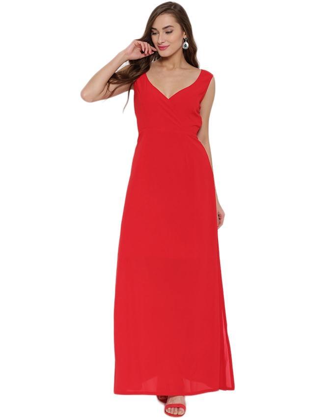Red Chiffon Casual Maxi For Women
