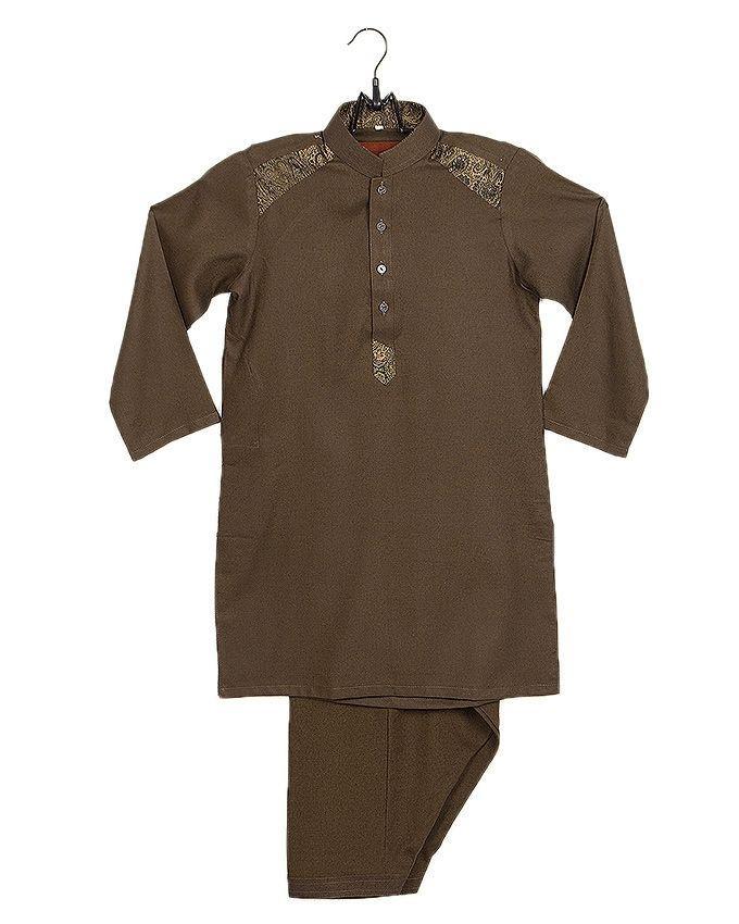 Dark Green Cotton Shalwar Kurta For Boys