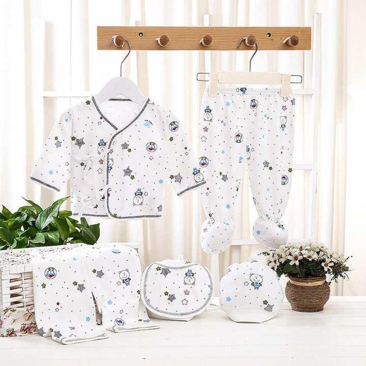 5Pcs Infant Suit Newborn Clothing Cartoon Print Pure Cotton 3 Moths Baby Set blue