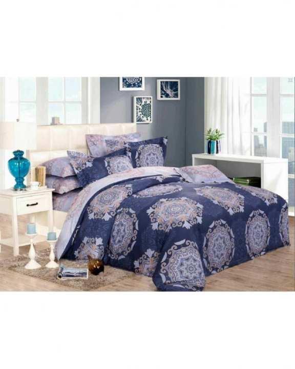 Blue Satin Printed King Size Comforter Set