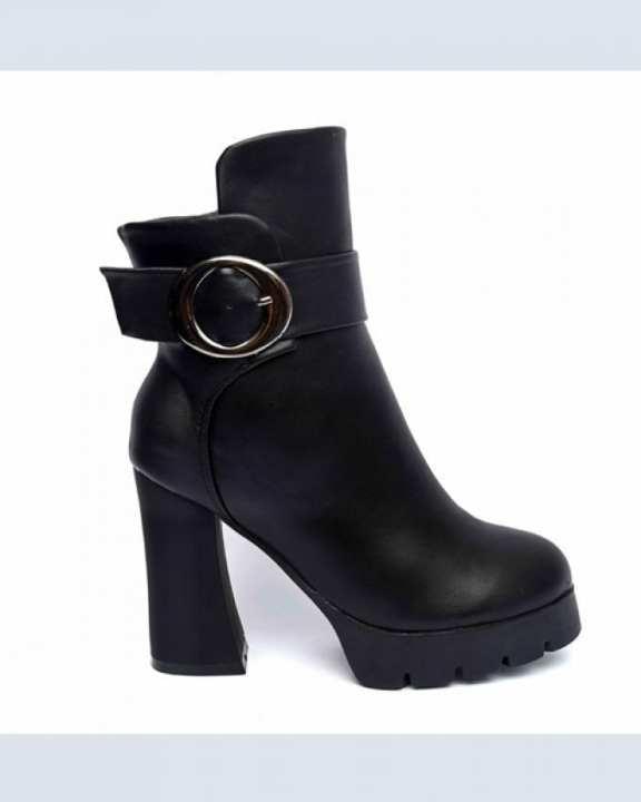 Black Leather Square Ladies Boots