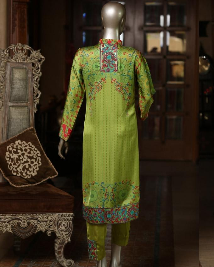 Bright Chartreuse Printed Embroidered Kantha Silk 3-Piece Unstitched Suit For Women - Rumal 1624A