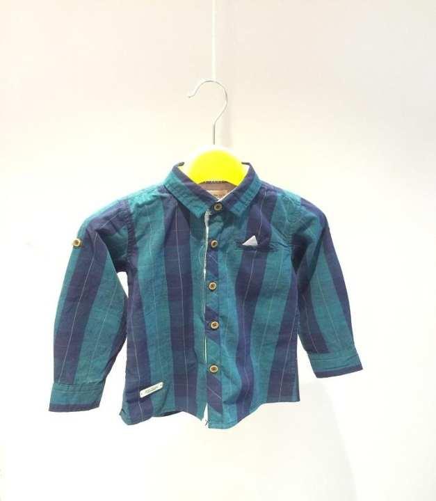 Green & Blue Cotton Shirt For Boys