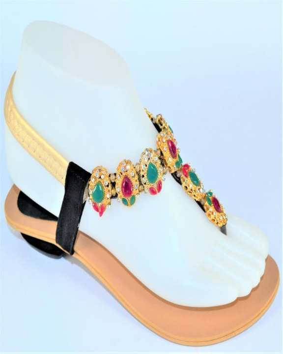 Golden Rexine Sandal for Women