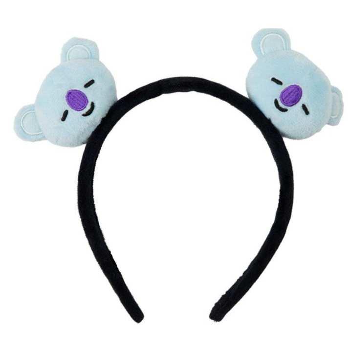 BT21 Elastic Hair Band Cartoon Headband Bangtan Boys Fans Plush Accessories blue & purple