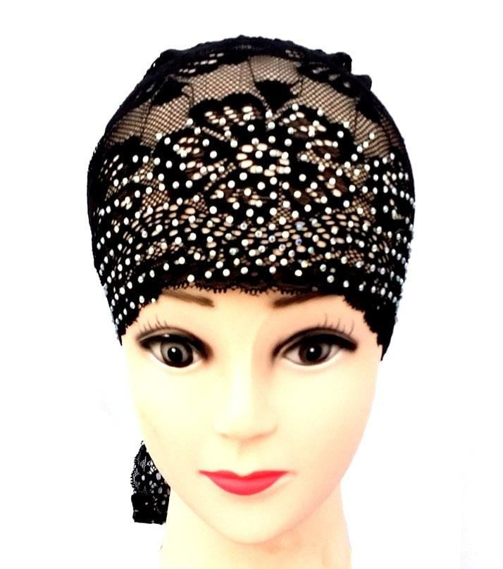 efd090b399 Lace Inner Hijab Back Tie Cap for Women - Black