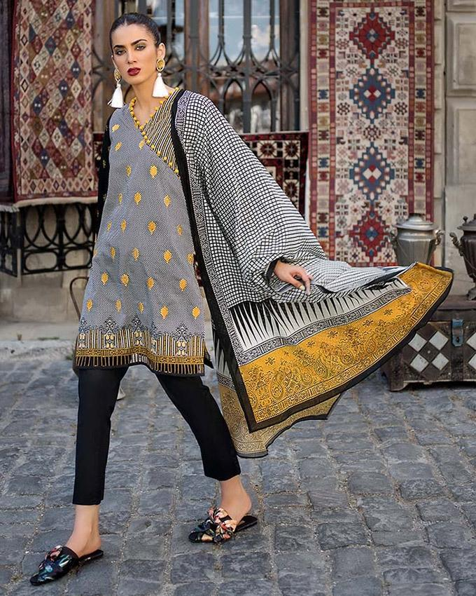 4932fc536b GA - Gul Ahmed - Black & White 3 PC Unstitched Embroidered Suit Dupatta,  Embriodered