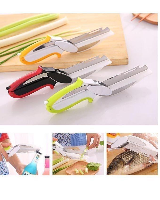 6 in 1 - Knife Scissor - White & Orange