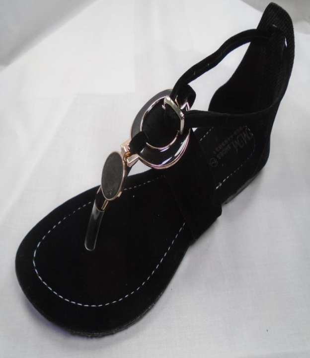 Black Synthetic Fancy Stripy Sandal For Women - 225-50691