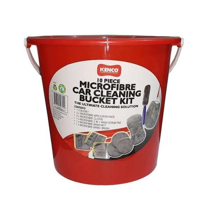 Kenco Micro Fiber Car Cleaning Bucket Kit - 10 Pieces