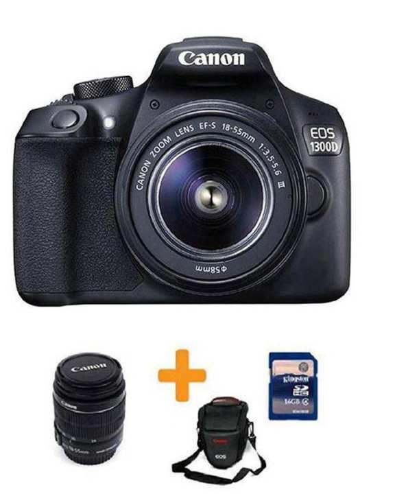 EOS-1300D - 18MP - DSLR Camera With 55mm Lens + 16GB Card + Bag - Black