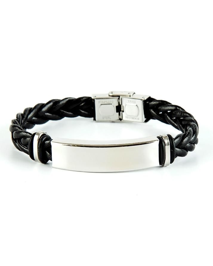 Black And Silver Leather Knot Bracelet For Men