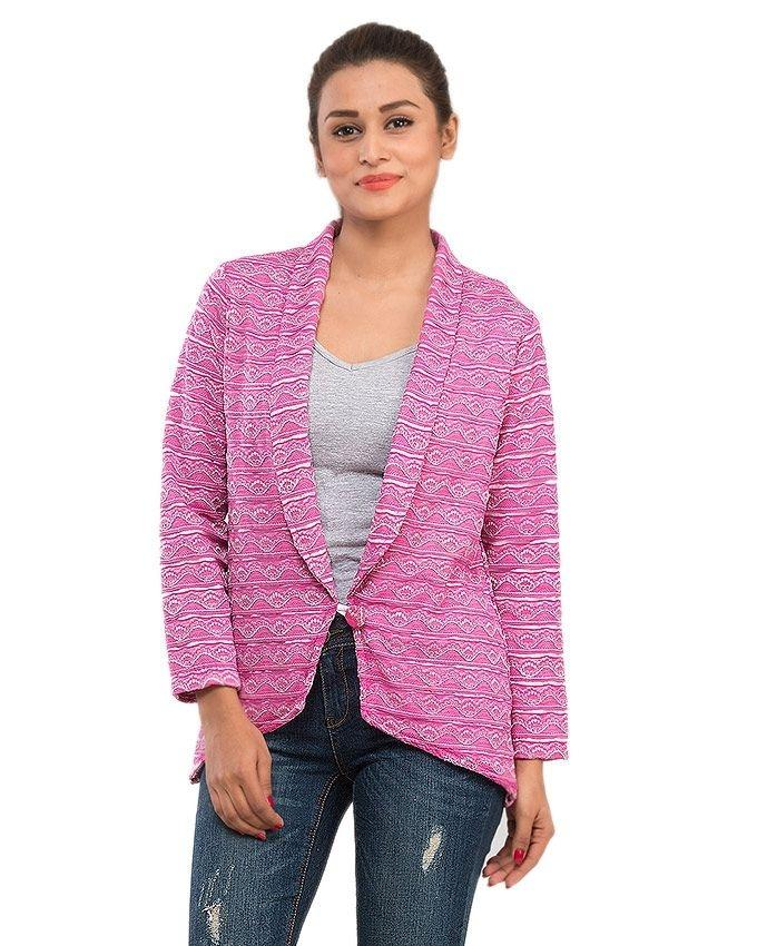 Pink Lace Printed Blazer with Inner Linning for Women - 13990