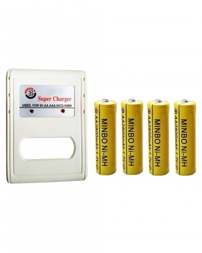 Battery Charger & Chargeable Cells - White