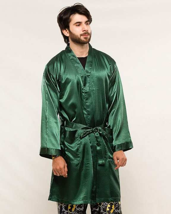 POLYESTER SILK SATIN GREEN COLOR MEN'S GOWN -