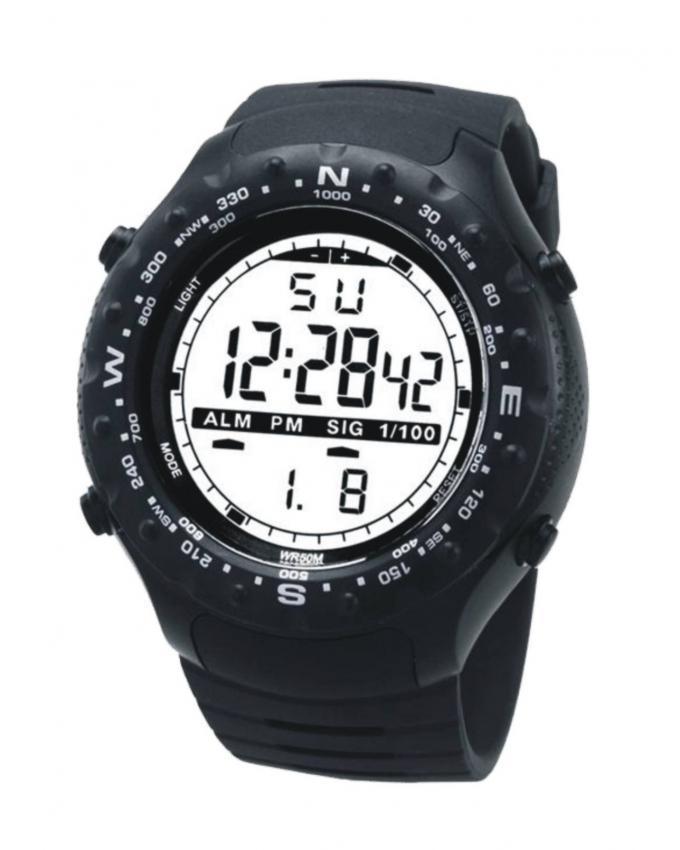 Black Rubber Multifunctional Sport Digital Watch For Men