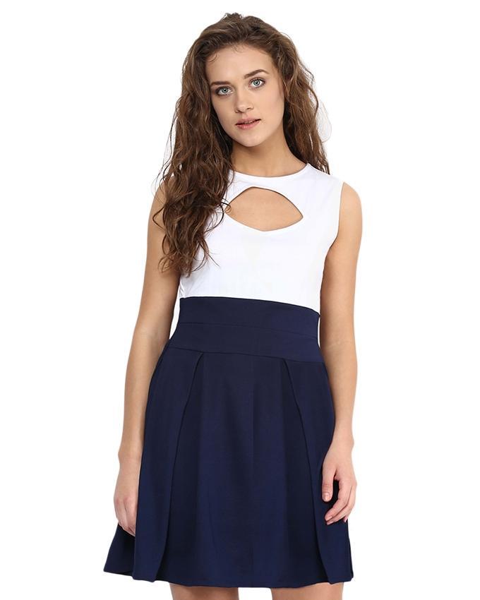 White & Blue Chiffon Dress For Women - Si-302