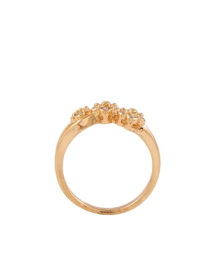 Golden Zircon & Alloy Studded Ring for Women - AK-13-B